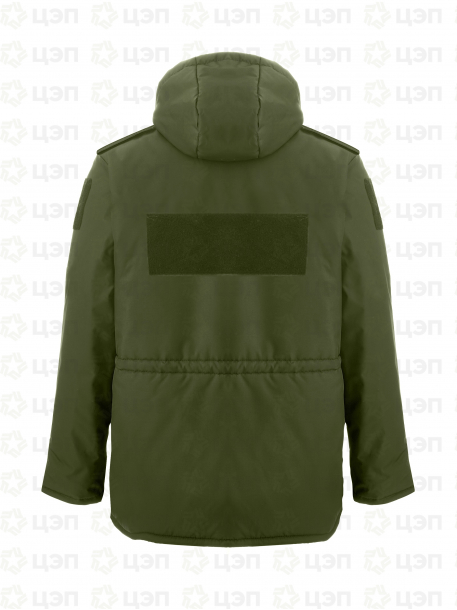 Куртка охранника АЛЬФА удлиненная с иск. мехом, тк. оксфорд оливковая