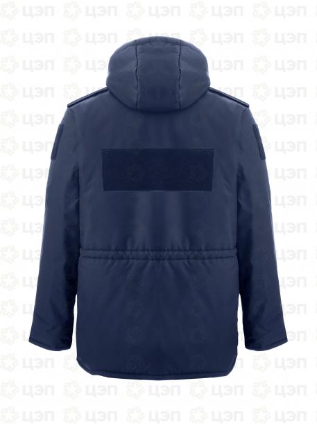 Куртка охранника АЛЬФА удлиненная с иск. мехом, тк. оксфорд синяя