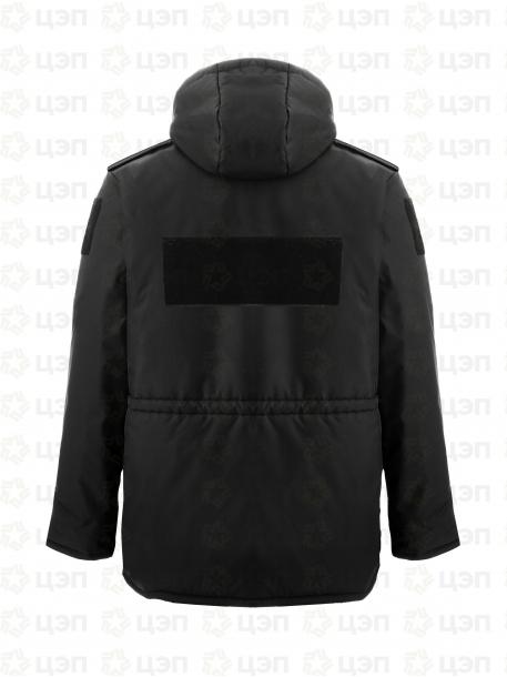 Куртка охранника АЛЬФА удлиненная с иск. мехом, тк. оксфорд черная