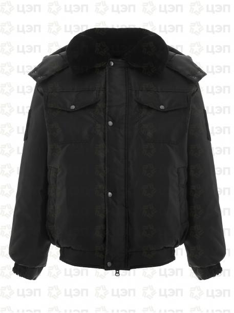 Куртка охранника ОМОН укороченная с иск. мехом, тк. оксфорд черная