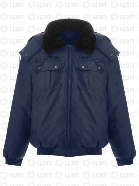 Куртка охранника укороченная с подстежкой и иск. мехом, тк. оксфорд синяя