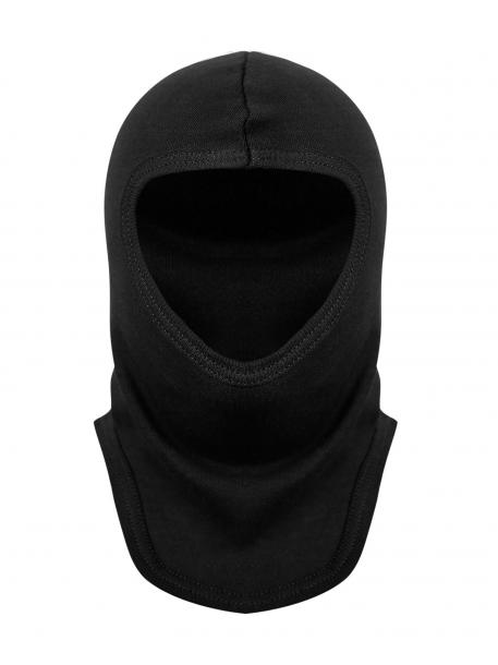 Подшлемник трикотажный (интерлок) черный, вырез – под все лицо, полушерсть