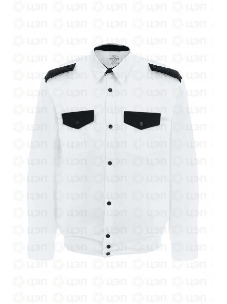 Рубашка охранника на резинке с длинным рукавом, тк. тиси белая