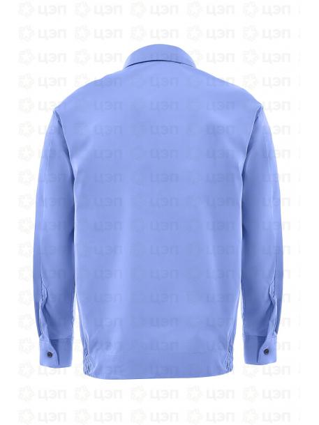 Рубашка охранника на резинке с длинным рукавом, тк. тиси голубая