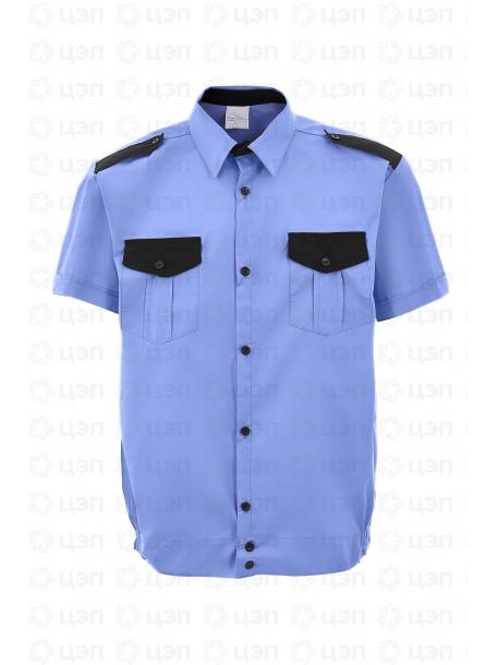 Рубашка охранника на резинке с коротким рукавом, тк. тиси голубая